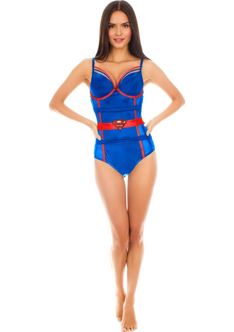 Superman Satin/mesh Body Suit-1x/2x