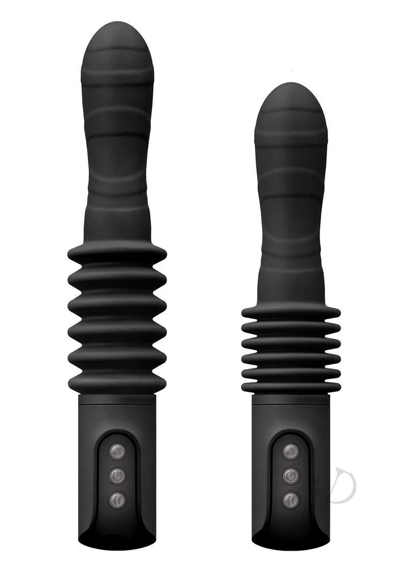 Renegade Rechargeable Deep Stroker Silicone Thrusting Vibrating Wand Massager - Black